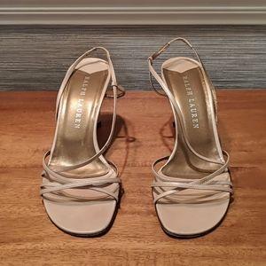 Ralph Lauren cream colored strappy heels